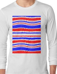 Red White Blue Waving Lines Long Sleeve T-Shirt