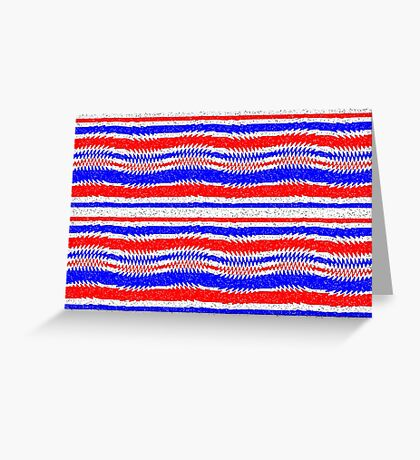 Red White Blue Waving Lines Greeting Card