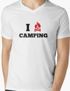 I Love Camping Mens V-Neck T-Shirt