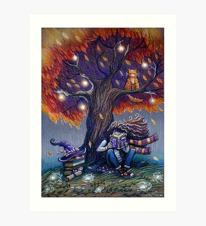 Young witch reading magic book Art Print