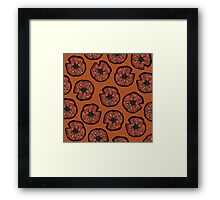 Poppies on Rusted Yellow - poppy flower pattern Framed Print