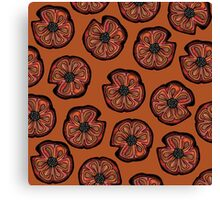 Poppies on Rusted Yellow - poppy flower pattern Canvas Print