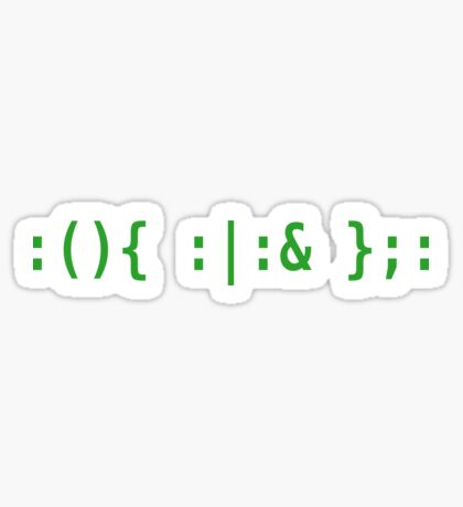 Bash Fork Bomb - Green Text for Unix/Linux Hackers Sticker