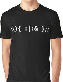 Bash Fork Bomb - White Text for Unix/Linux Hackers Graphic T-Shirt