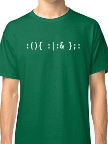 Bash Fork Bomb - White Text for Unix/Linux Hackers Classic T-Shirt