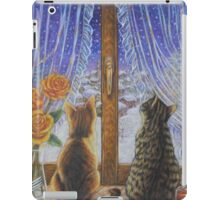Cat Art - Cats Watching the Snow Fall iPad Case/Skin