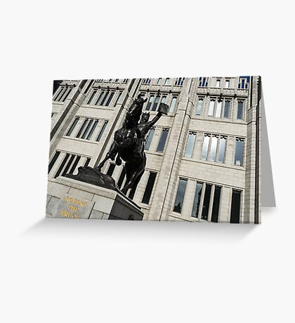 Robert the Bruce - Scotland National Hero Equestrian Statue at Marischal College in Aberdeen Greeting Card