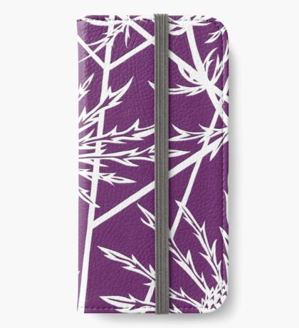 Paper art - Sea hollies on a purple background iPhone Wallet/Case/Skin