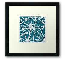 Paper art - Sea hollies on a teal background Framed Print