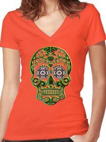 Sugar Skull - Calavera Women's Fitted V-Neck T-Shirt