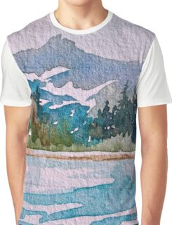 Blue-Teal Mountain Wild and Rugged Graphic T-Shirt