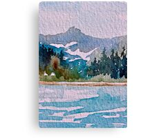 Blue-Teal Mountain Wild and Rugged Canvas Print