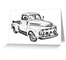 1951 ford F-1 Pickup Truck Illustration Greeting Card