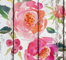 Pink Watercolor Flower On Old Wood Sticker