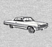 1964 Chevrolet Impala Muscle Car Illustration One Piece - Long Sleeve