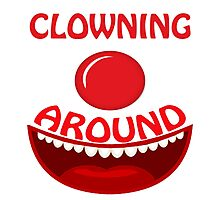 CLOWNING AROUND - Text And Icon Clown Design Photographic Print