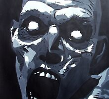Hungry Zombie- Abstract Zombie Painting by ArniesArt