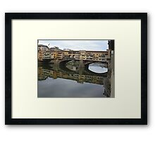 REFLECTIONS OF THE ARNO IN FLORENCE - ITALY -  VETRINA RB EXPLORE GIUGNO 2014 -EUROPE - WORLD Framed Print