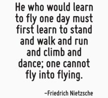 He who would learn to fly one day must first learn to stand and walk and run and climb and dance; one cannot fly into flying. by Quotr