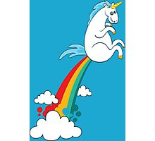 funny unicorn rainbow fart cloud making rainbow Photographic Print
