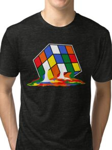 SHELDON COOPER BIG BANG THEORY MELTED MELTING RUBIKS CUBE POP CULTURE Tri-blend T-Shirt