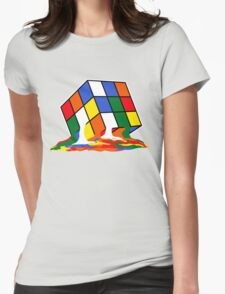SHELDON COOPER BIG BANG THEORY MELTED MELTING RUBIKS CUBE POP CULTURE Womens Fitted T-Shirt