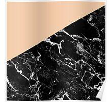 Modern elegant peach black marble color block Poster
