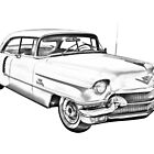 1956 Sedan Deville Cadillac Car Illustration by KWJphotoart