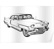 1956 Sedan Deville Cadillac Car Illustration Poster