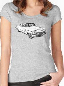 1956 Sedan Deville Cadillac Car Illustration Women's Fitted Scoop T-Shirt
