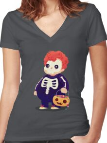 Halloween Kids - Skeleton Women's Fitted V-Neck T-Shirt