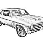 1969 Chevrolet Nova Yenko 427 Muscle Car Illustration by KWJphotoart