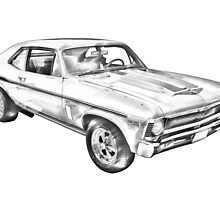 1969 Chevrolet Nova Yenko 427 Muscle Car Illustration by KWJphotoart