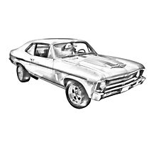 1969 Chevrolet Nova Yenko 427 Muscle Car Illustration Photographic Print