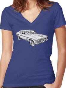 1969 Chevrolet Nova Yenko 427 Muscle Car Illustration Women's Fitted V-Neck T-Shirt
