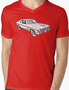 1969 Chevrolet Nova Yenko 427 Muscle Car Illustration Mens V-Neck T-Shirt