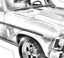 1969 Chevrolet Nova Yenko 427 Muscle Car Illustration Sticker