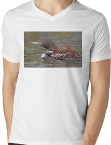 Common loon swimming with two chicks on her back T-Shirt