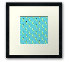 Banana Light Blue Pattern Framed Print