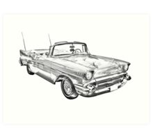 1957 Chevrolet Bel Air Convertible Illustration Art Print