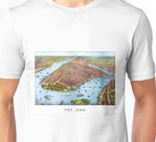 Vintage Pictorial Map of New York City (1879) Unisex T-Shirt