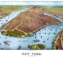 Vintage Pictorial Map of New York City (1879) by BravuraMedia