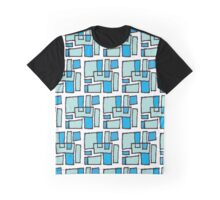 Turquoise and Blue Square Pattern Graphic T-Shirt