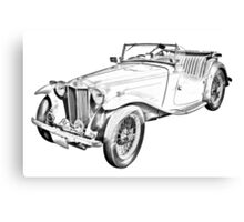 MG Convertible Antique Car Illustration Canvas Print