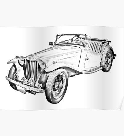 MG Convertible Antique Car Illustration Poster