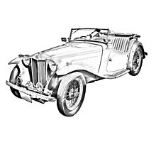 MG Convertible Antique Car Illustration Photographic Print