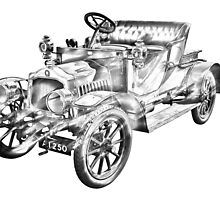 De Dion Bouton Antique Car Illustration by KWJphotoart