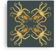 Yellow Octopus Pattern  Canvas Print