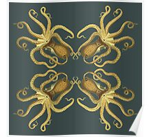 Yellow Octopus Pattern  Poster