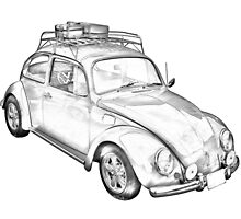 Volkswagen beetle Punch Buggy Illustration by KWJphotoart